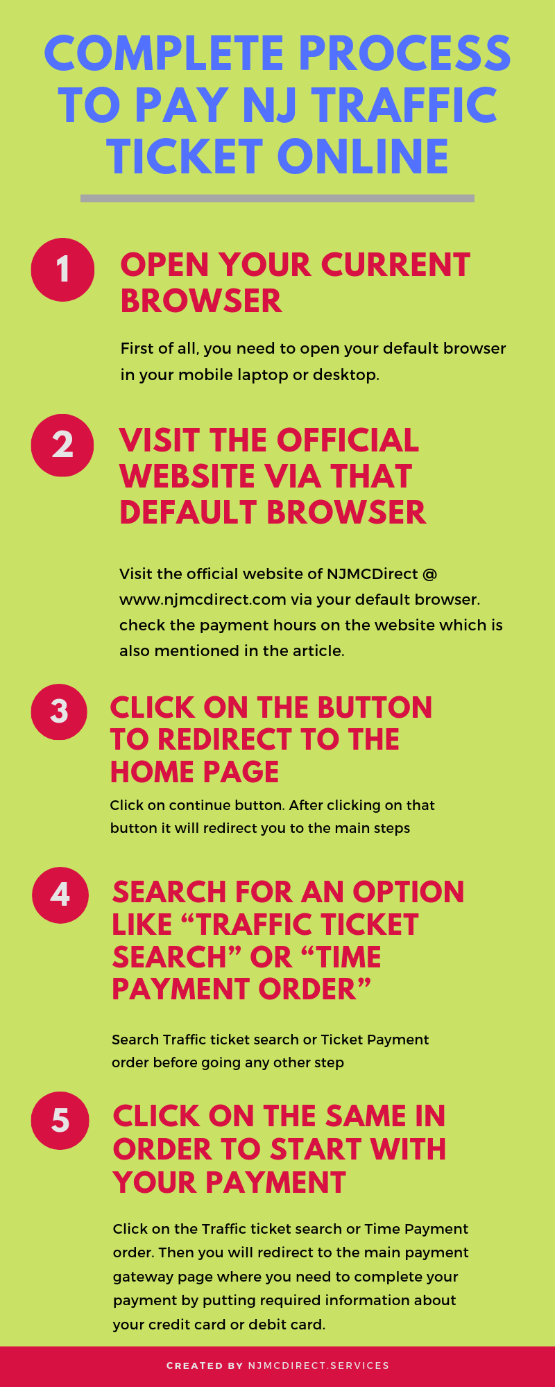 Complete process to pay NJ traffic ticket online